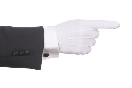 cuff link: Butlers gloved hand pointing isolated over white. Hand and arm only in horizontal format. Can be rotated to be pointing in any direction.