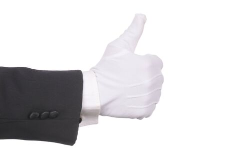 Butlers gloved hand making thumbs up gesture isolated over white. Hand and arm only in horizontal format.
