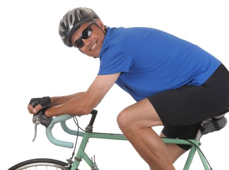 Closeup of a smiling man on a road bike isolated on white. Side shot in horizontal format showing only top half of bike.