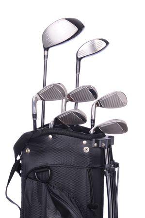 白い背景に黒い袋にゴルフクラブのセットします。