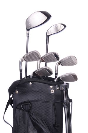 Set of golf clubs in a black bag on a white background.