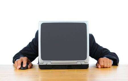 hands behind head: Businessman frustraed with technology with his head down on his laptop. Man is hidden behind computer only his hands and arms are visible. Horizontal format isolated over white.