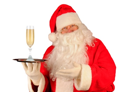 st  nick: Santa Claus with a glass of champagne on serving tray. Horizontal format isolated on white.