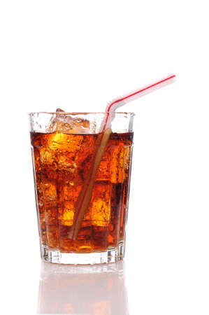 Close up of a glass of cola and Ice cubes with condensation with straw. Vertical format with reflection isolated on white. Stock Photo - 8955543