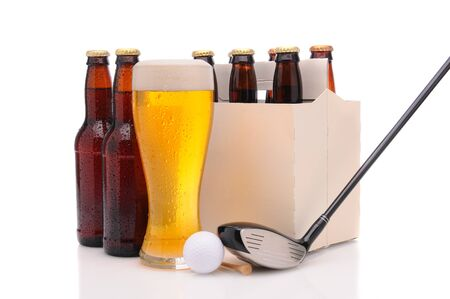 Six pack of beer and frothy glass with a Golf Club and ball in front. Horizontal format isolated on white with reflection.