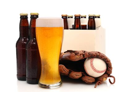 6 pack beer: Six pack of beer and frothy glass with abaseball glove and ball in front. Horizontal format isolated on white with reflection.