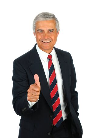 Portrait of a smiling senior business man with a thumbs up hand gesture. Vertical format isolated on white.