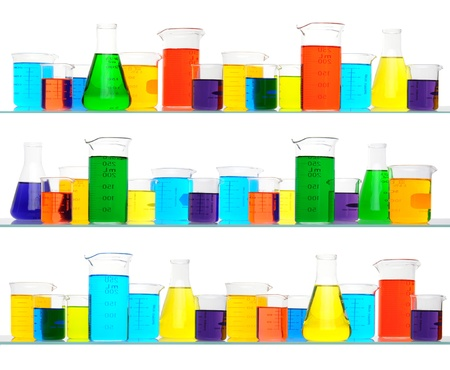 three shelves: Assorted sizes and shapes of laboratory glassware on three shelves. Beakers are filled with liquids of assorted colors. Square Format isolated on white background.