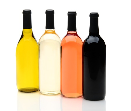 pinot grigio: Four wine bottles on a white background with reflections, one each of chardonnay, white zinfandel, cabernet sauvignon, and pinot grigio, without labels.
