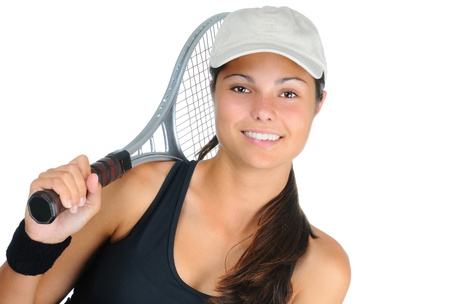 tennis racquet: Closeup of an attractive young female tennis player with racket over her shoulder. Horizontal format isolated on white. Stock Photo