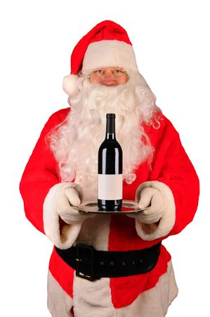 st  nick: Santa Claus holding a serving tray with a bottle of red wine. Vertical format isolated on white.