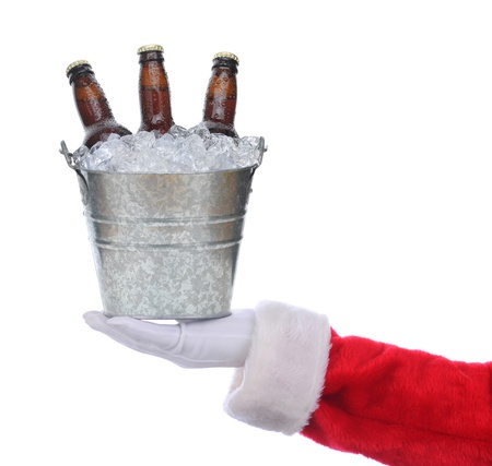 beer bucket: Santa Claus outstretched arm holding a bucket of beer in his hand. Square format over a white background.