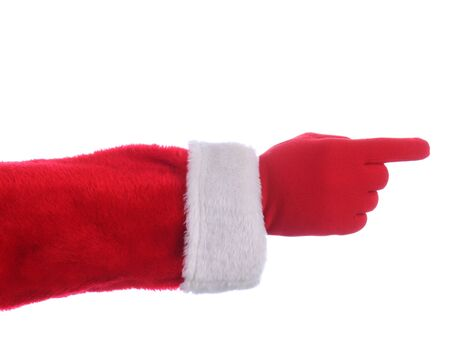 st  nick: Santa Claus outstretched arm with finger pointing. Horizontal format over a white background.