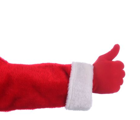 st  nick: Santa Claus outstretched arm making thumbs up gesture. Horizontal format over a white background.