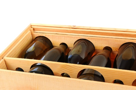 chardonnay: Closeup of a Wooden Case of Chardonnay Wine Bottles.