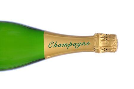 Een Close-up van een champagne fles op het kant over een witte achtergrond. Stockfoto
