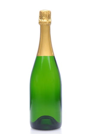 A Champagne bottle without a label over a white background.