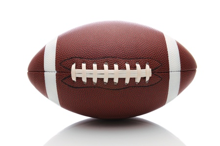 football object: American Football isolated on white, with reflection.