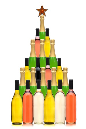 Christmas tree shape made out of wine and champagne bottles with a star on the top bottle. Vertical format over a white background.