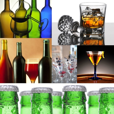 Collage of six alcoholic beverage images. Images include wine, whiskey, cocktails and beer.  photo