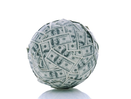 A sphere made up of USA one hundred dollar bills over a white background with reflection Stock Photo