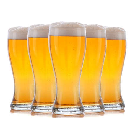 Five Beer Glasses arranged over a white background. Stock Photo - 12853779