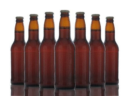An arrangement of seven brown beer bottles with reflection over a white background. photo
