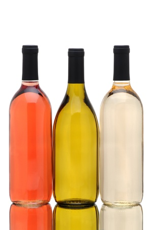 A group of three different wine bottles with reflection over a white background. White Zinfandel, Chardonnay and Pinot Gris bottles without labels are represented. photo