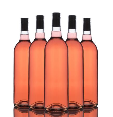 white zinfandel: A Group of five Blush wine bottles without labels on a white background with reflection.