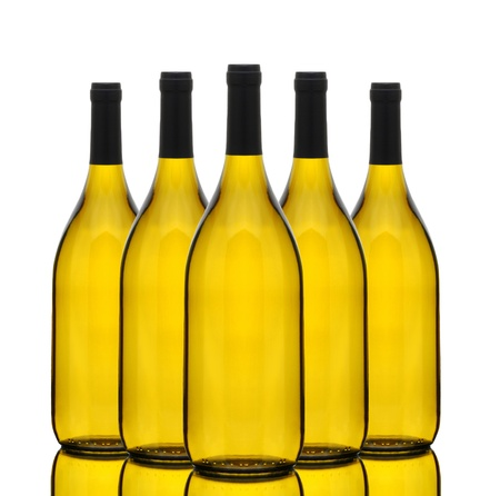 chardonnay: A group of Chardonnay wine bottles without labels over a white background with reflection.