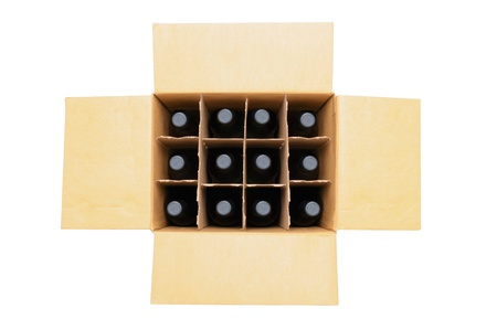 cases: Overhead view of a twelve bottle case of red wine over a white background. Box is open with the flaps extended. Stock Photo