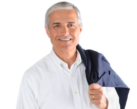 Portrait of a middle aged businessman with his jacket over his shoulder. Square Format over a white background.