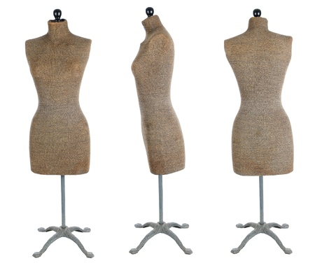 Three views of an antique dress form. Front view, side view, and back view isolated over a white background.