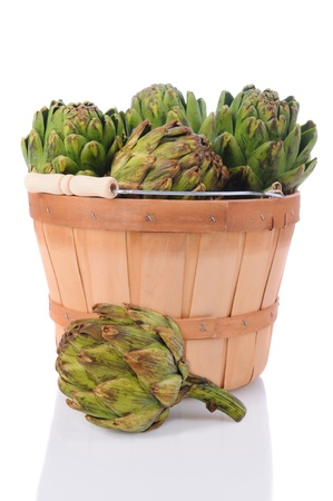 Fresh picked artichokes in a basket with one on the surface in the foreground. Vertical format over a white background with reflection. photo