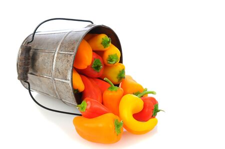 Fresh sweet peppers spilling from a old fashioned bucket on a white background. Horizontal format with slight reflection. Stock Photo - 13996412