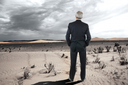 A middle aged businessman stranding in the desert. Man is wearing a suit and seen from behind with his hands in his pockets. Zdjęcie Seryjne