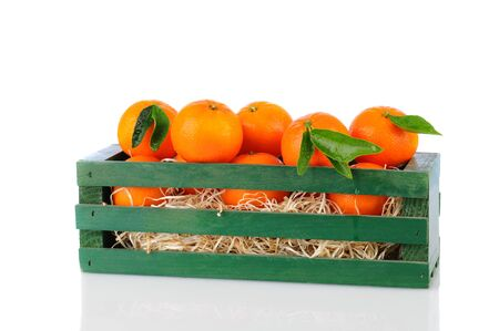 A wood crate full of Clementine Mandarin Oranges. Horizontal format over a white background with reflection. Stock Photo - 15400274