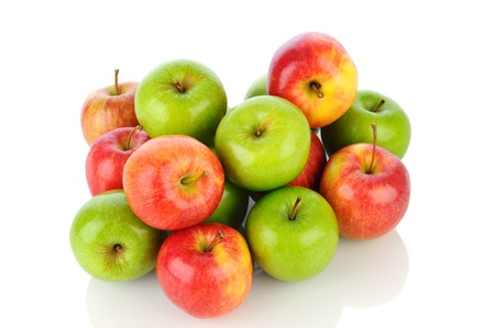 A pile of Gale and Granny Smith Apples on white with reflection. Horizontal format. Stock Photo - 15477908