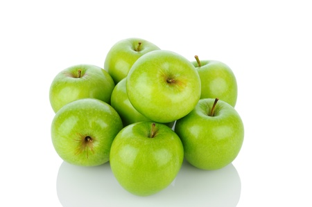 A pile of Granny Smith apples on white with reflection. Horizontal format. Stock Photo - 15477902