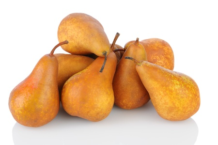 A pile of Bosc pears on a white background. Horizontal format with reflection. Stock Photo - 15477907