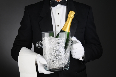 Closeup of a Sommelier holding a Champagne Ice Bucket in front of his torso. Horizontal format on a light to dark gray background. photo