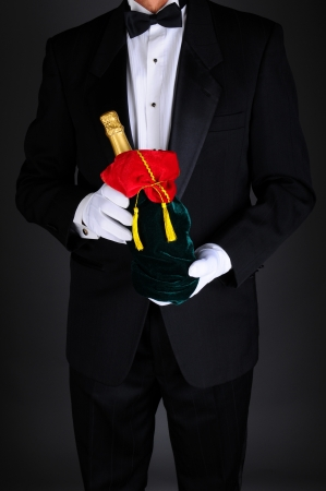 git: Gentleman wearing a tuxedo holding a champagne bottle wrapped up in a festive holiday gift bag. Man is unrecognizable on a light to dark gray background.