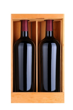 Two red wine bottles in a wooden gift case, isolated on white, Vertical Format. Stock Photo - 16856881