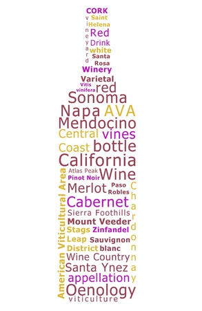 describe: Word cloud made form terms used to describe California wines in the shape of a wine bottle. Stock Photo