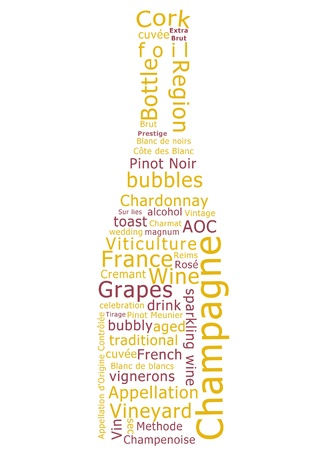 chardonnay: Word cloud made form terms used in the production of champagne in the shape of a sparkling wine bottle. Stock Photo