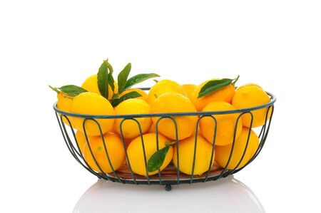 A metal basket full of fresh picked lemons isolated on a white background with reflection. Horizontal format. Stock Photo - 17115327