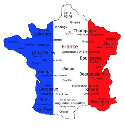 Kaart van Frankrijk met de verschillende wijn benamingen en diverse wijn termen.