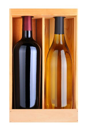 A Cabernet Sauvignoon and Chardonnay bottle without labels in a wood gift box photo