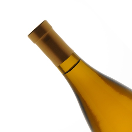 chardonnay: Closeup of a chardonnay wine bottle over a white background