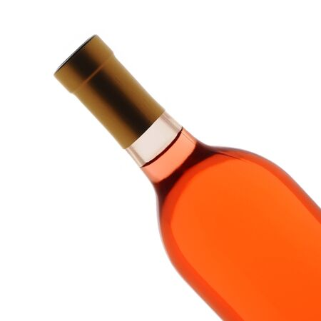 Closeup of a blush wine bottle over a white background photo